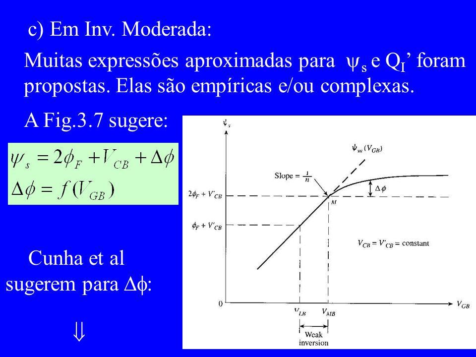 c) Em Inv. Moderada: Muitas expressões aproximadas para s e Q I foram propostas.