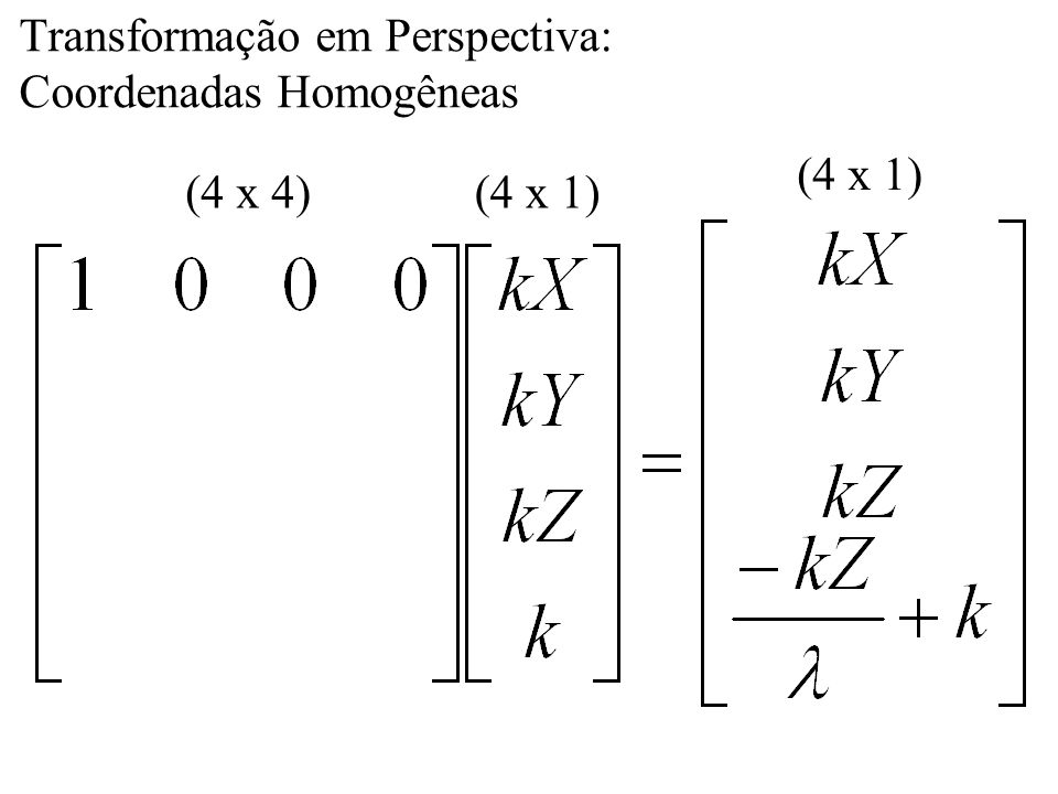 Transformação em Perspectiva: Coordenadas Homogêneas (4 x 1) (4 x 4)