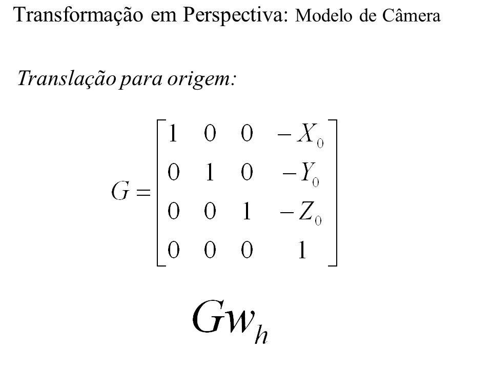Transformação em Perspectiva: Modelo de Câmera Translação para origem: