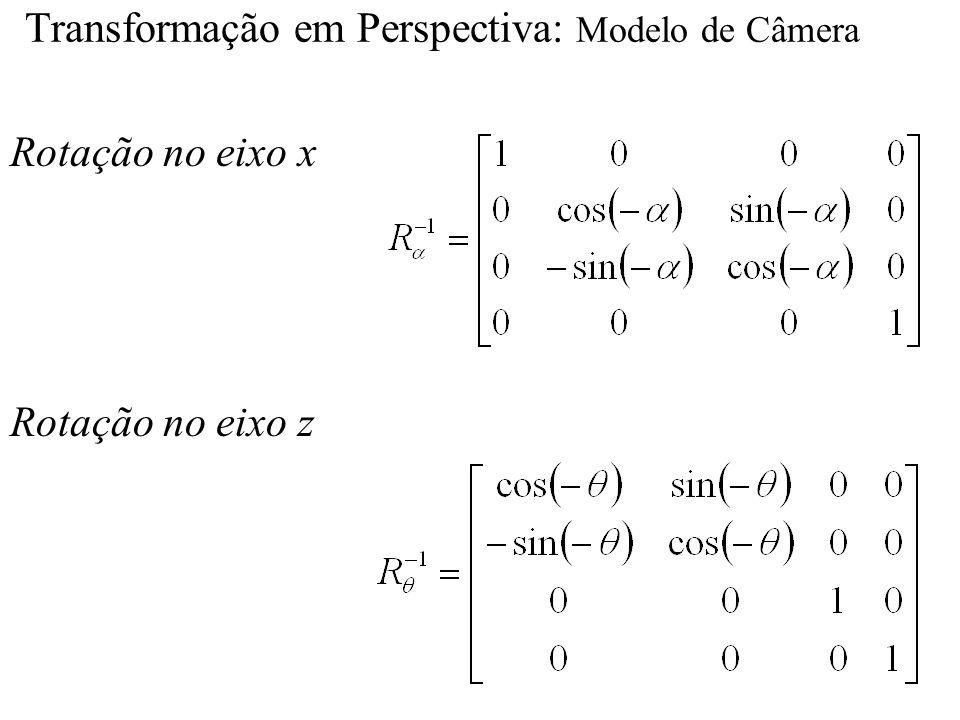 Transformação em Perspectiva: Modelo de Câmera Rotação no eixo x Rotação no eixo z