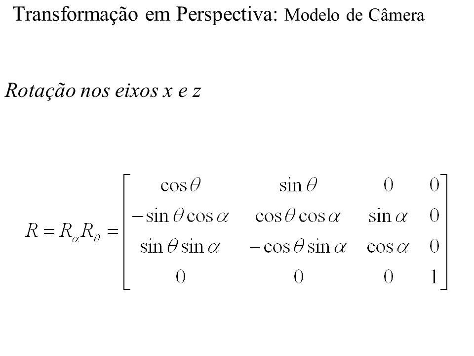 Transformação em Perspectiva: Modelo de Câmera Rotação nos eixos x e z