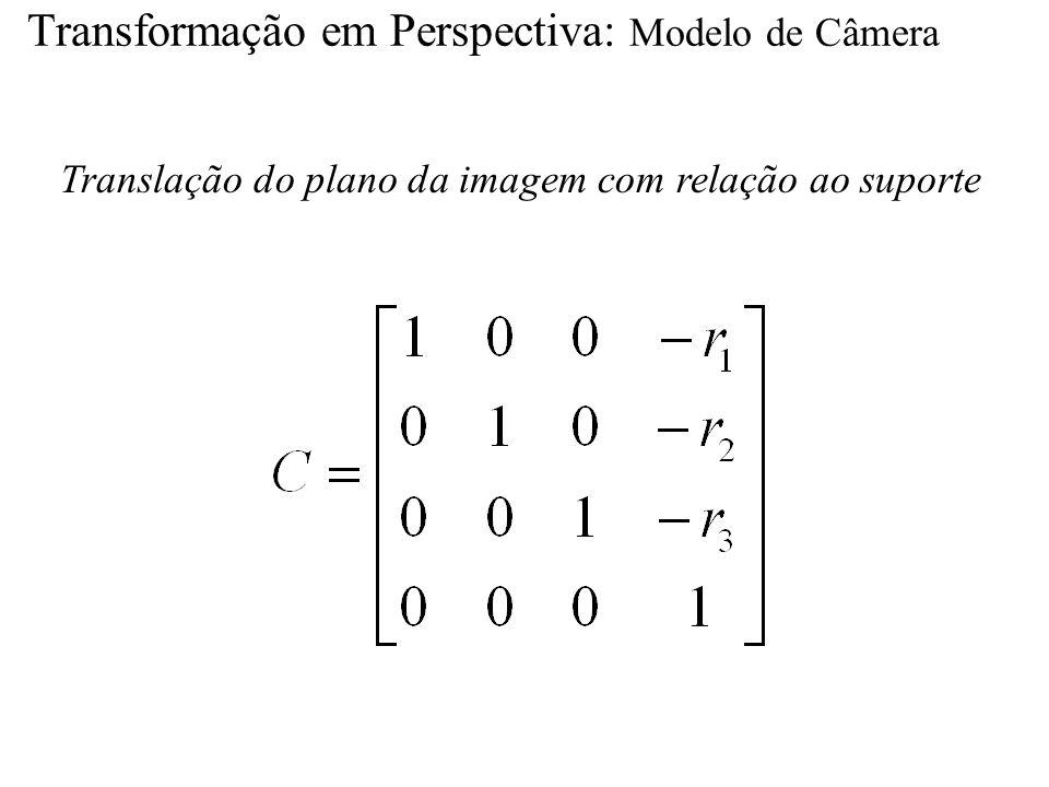 Transformação em Perspectiva: Modelo de Câmera Translação do plano da imagem com relação ao suporte