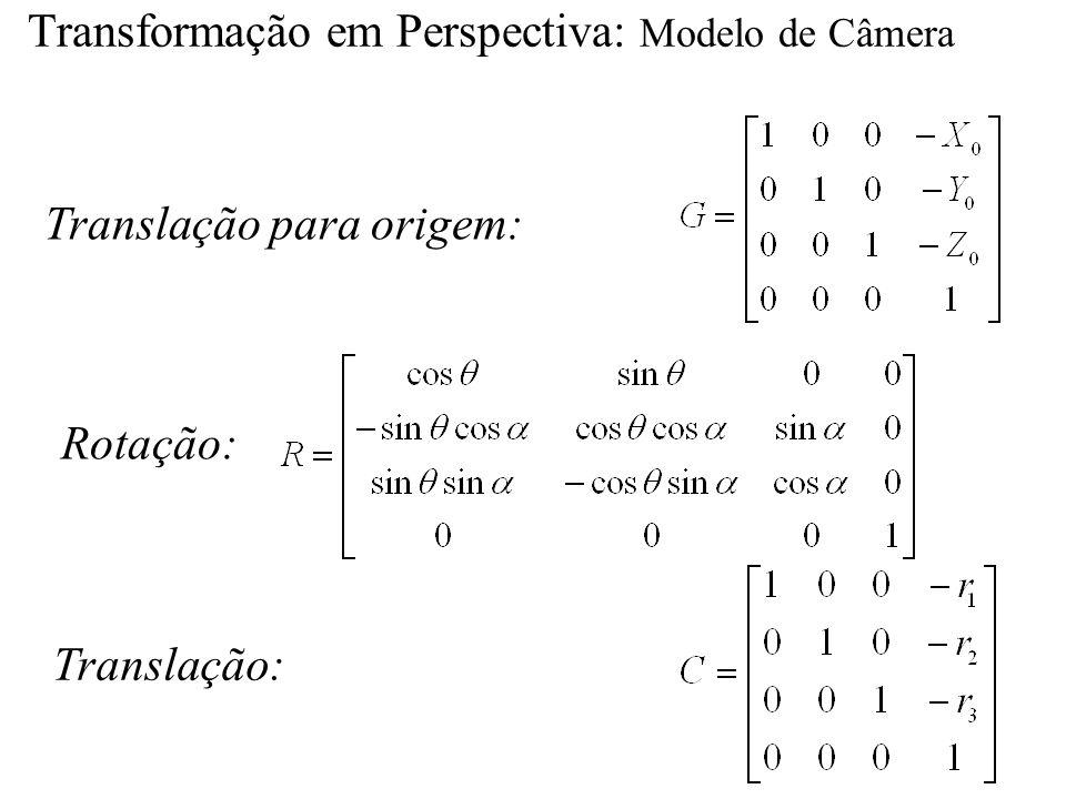 Transformação em Perspectiva: Modelo de Câmera Translação para origem: Rotação: Translação: