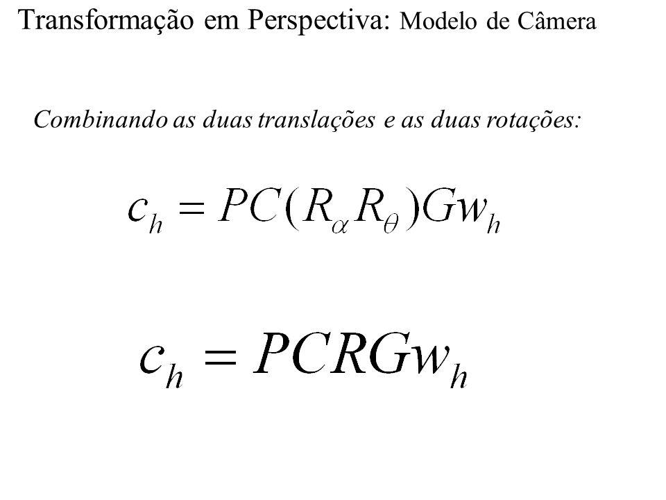 Transformação em Perspectiva: Modelo de Câmera Combinando as duas translações e as duas rotações: