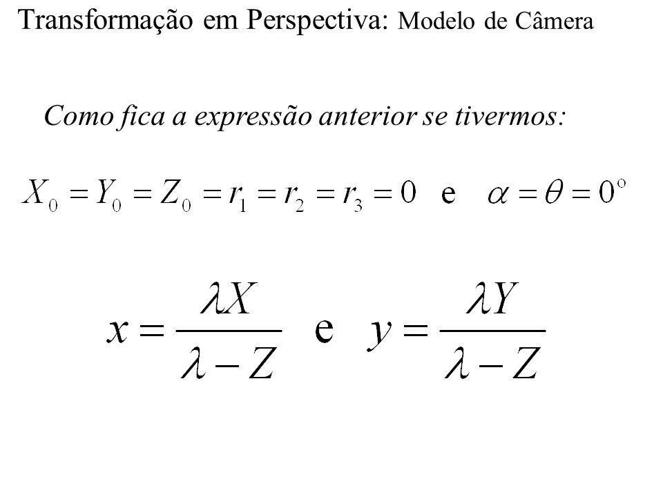 Transformação em Perspectiva: Modelo de Câmera Como fica a expressão anterior se tivermos: