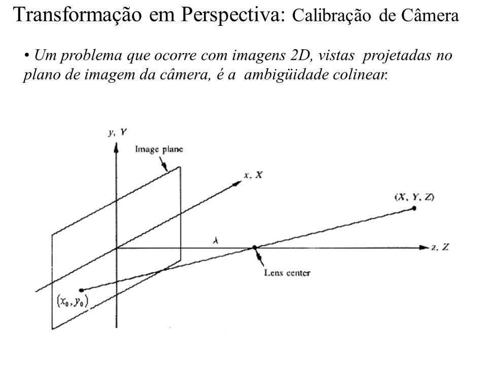 Transformação em Perspectiva: Calibração de Câmera Um problema que ocorre com imagens 2D, vistas projetadas no plano de imagem da câmera, é a ambigüid