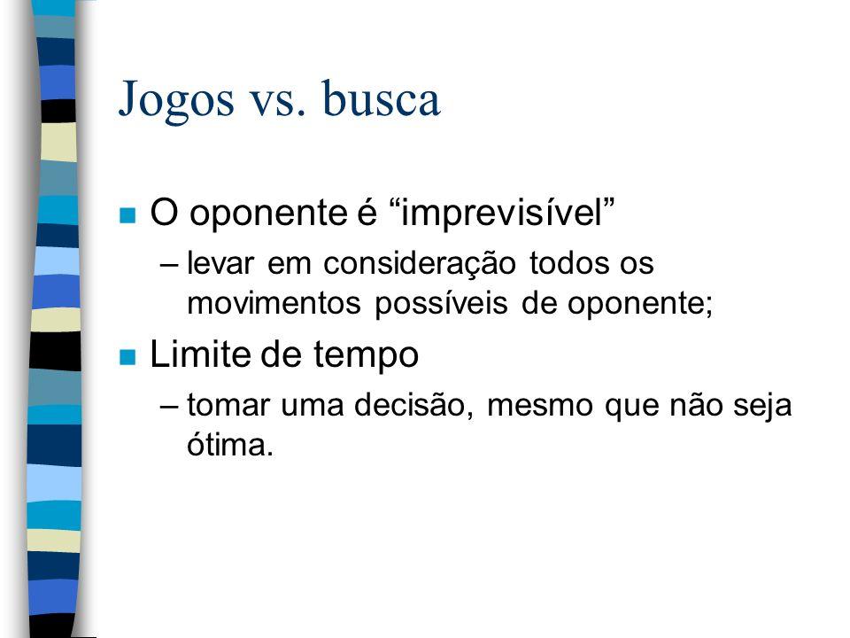 Jogos vs. busca n O oponente é imprevisível –levar em consideração todos os movimentos possíveis de oponente; n Limite de tempo –tomar uma decisão, me