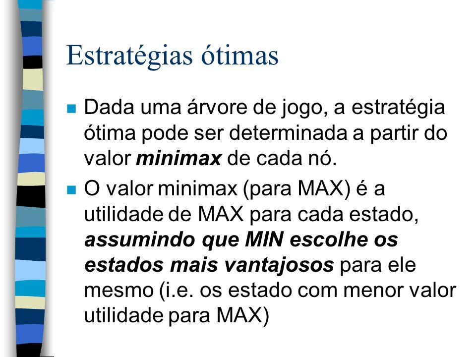 Estratégias ótimas n Dada uma árvore de jogo, a estratégia ótima pode ser determinada a partir do valor minimax de cada nó. n O valor minimax (para MA