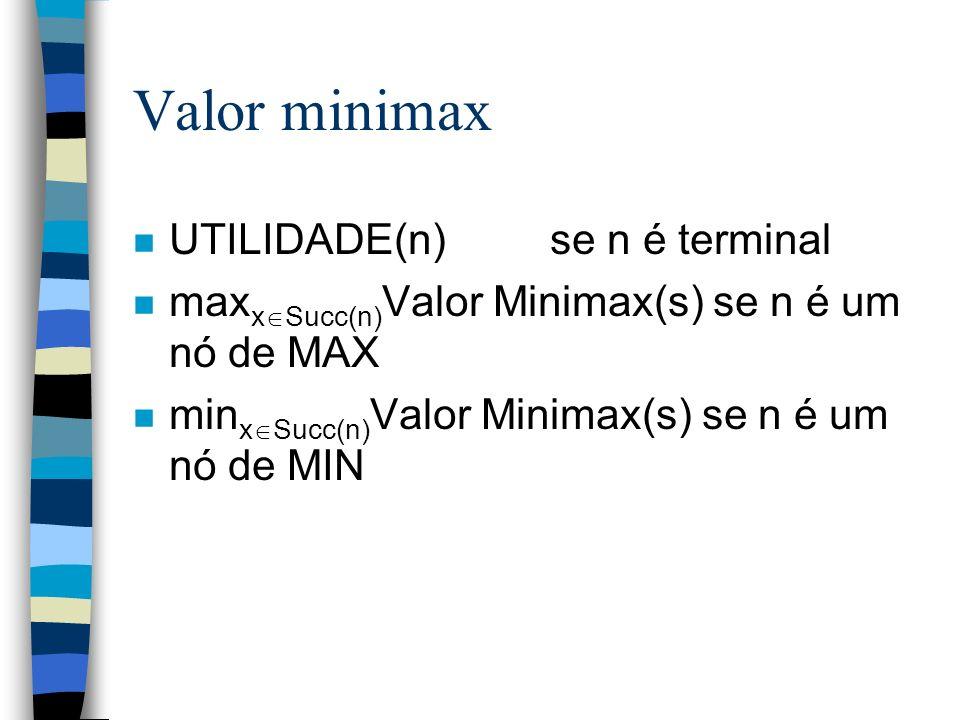 Valor minimax n UTILIDADE(n) se n é terminal n max x Succ(n) Valor Minimax(s) se n é um nó de MAX n min x Succ(n) Valor Minimax(s) se n é um nó de MIN
