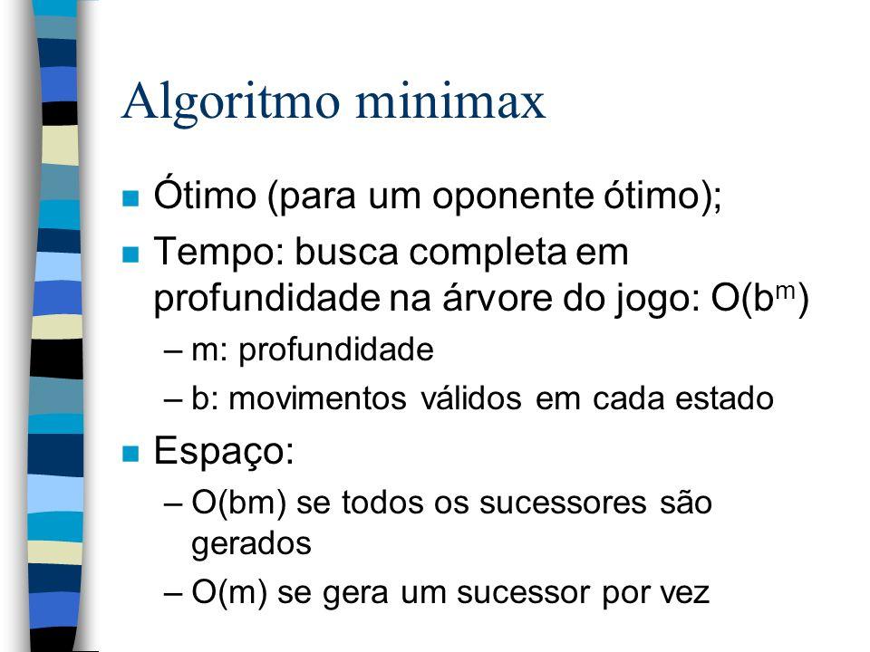 n Ótimo (para um oponente ótimo); n Tempo: busca completa em profundidade na árvore do jogo: O(b m ) –m: profundidade –b: movimentos válidos em cada e