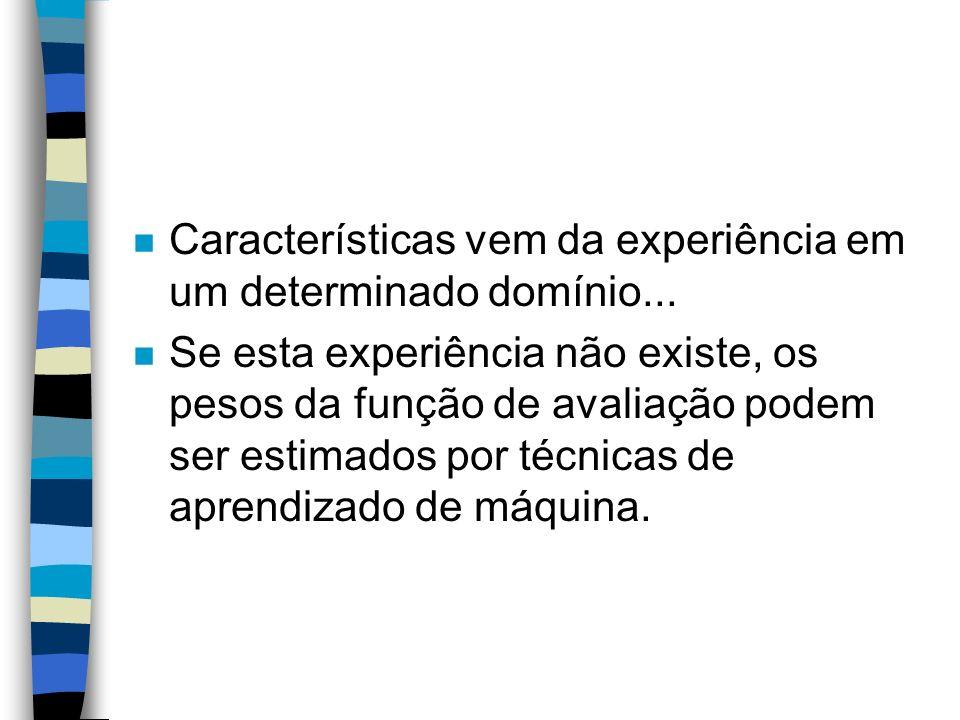 n Características vem da experiência em um determinado domínio... n Se esta experiência não existe, os pesos da função de avaliação podem ser estimado
