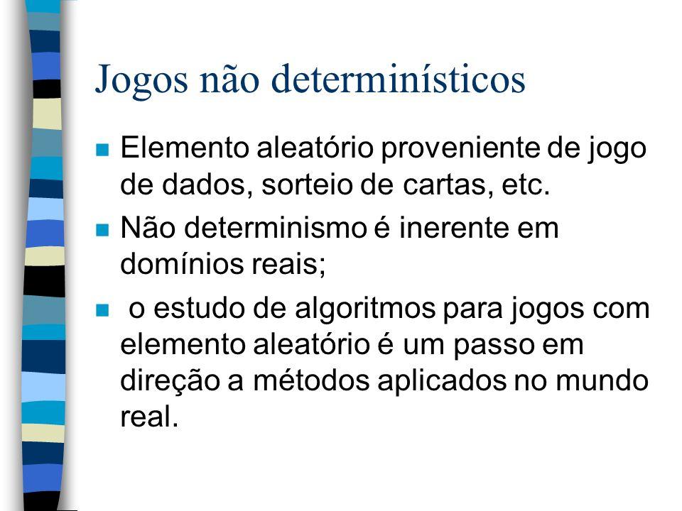 Jogos não determinísticos n Elemento aleatório proveniente de jogo de dados, sorteio de cartas, etc. n Não determinismo é inerente em domínios reais;