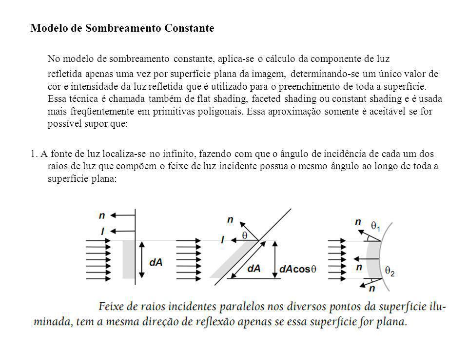 Modelo de Sombreamento Constante No modelo de sombreamento constante, aplica-se o cálculo da componente de luz refletida apenas uma vez por superfície