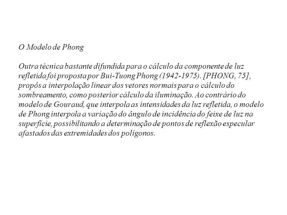 O Modelo de Phong Outra técnica bastante difundida para o cálculo da componente de luz refletida foi proposta por Bui-Tuong Phong (1942-1975). [PHONG,