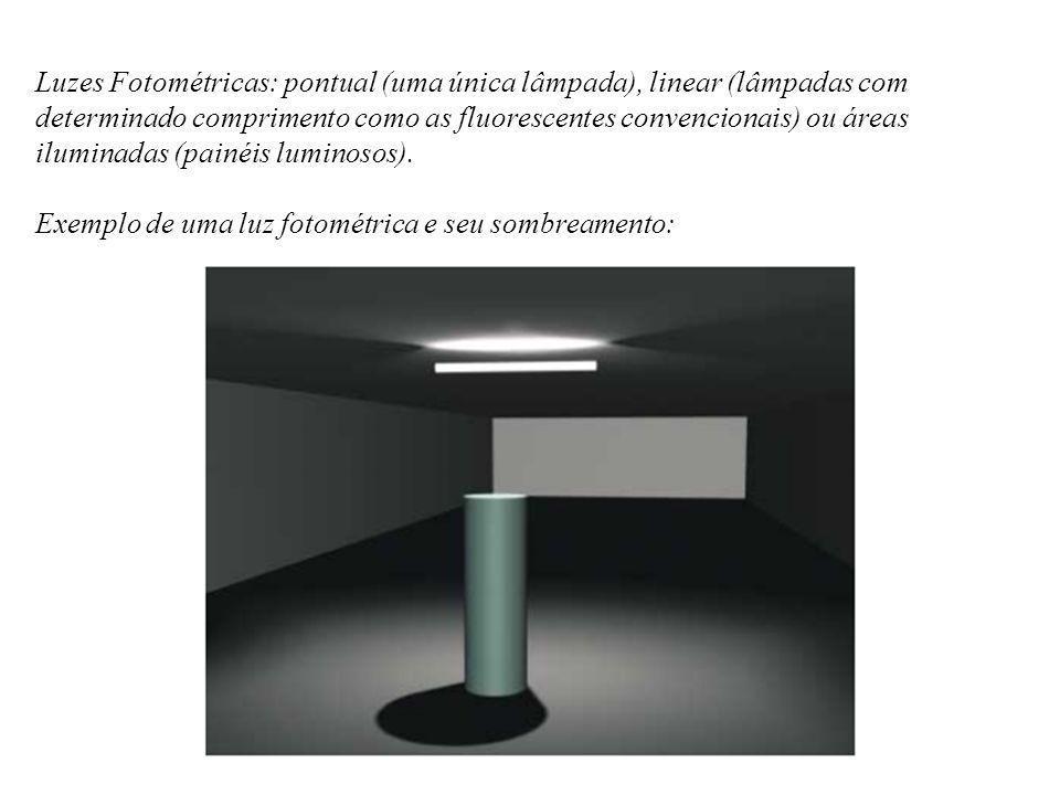 Luzes Fotométricas: pontual (uma única lâmpada), linear (lâmpadas com determinado comprimento como as fluorescentes convencionais) ou áreas iluminadas