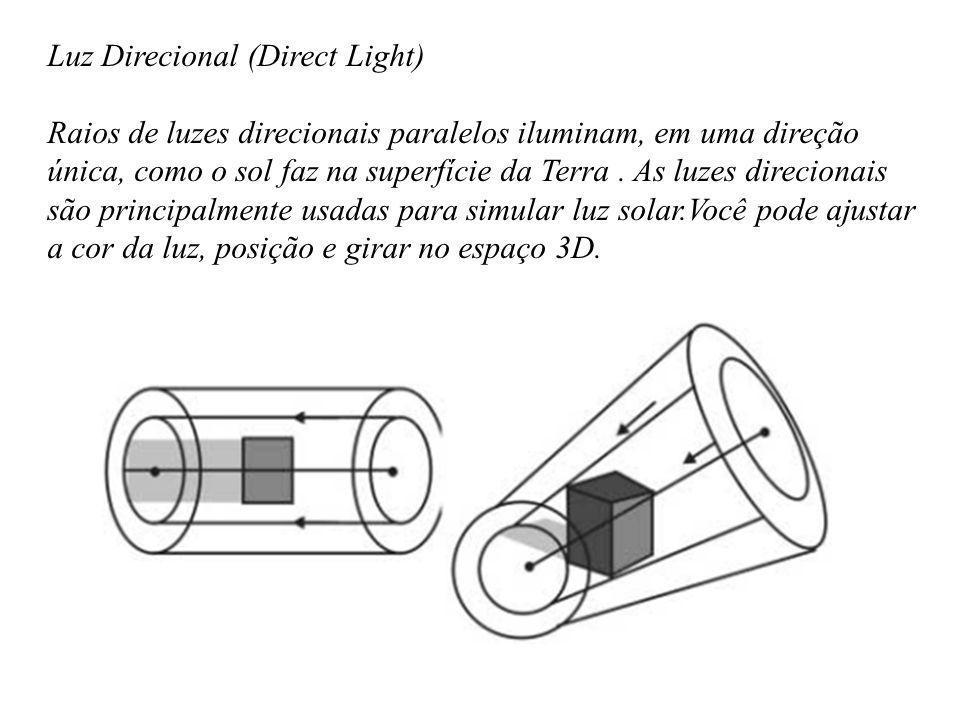 Luz Direcional (Direct Light) Raios de luzes direcionais paralelos iluminam, em uma direção única, como o sol faz na superfície da Terra. As luzes dir