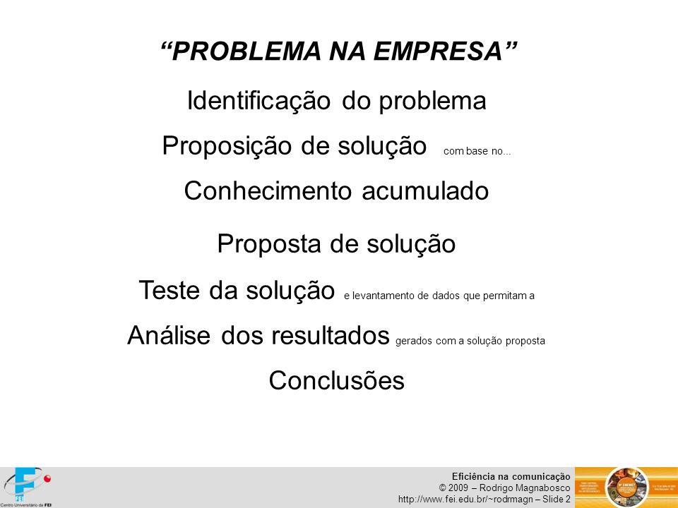 Eficiência na comunicação © 2009 – Rodrigo Magnabosco http://www.fei.edu.br/~rodrmagn – Slide 2 PROBLEMA NA EMPRESA Identificação do problema Proposiç