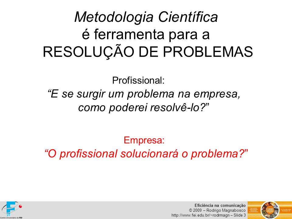 Eficiência na comunicação © 2009 – Rodrigo Magnabosco http://www.fei.edu.br/~rodrmagn – Slide 4 METODOLOGIA CIENTÍFICA Introdução ao tema de estudo Objetivo do estudo Revisão Bibliográfica Metodologia Coleta e descrição de Resultados Discussão de Resultados Conclusões PROBLEMA NA EMPRESA Identificação do problema Proposição de solução com base no...