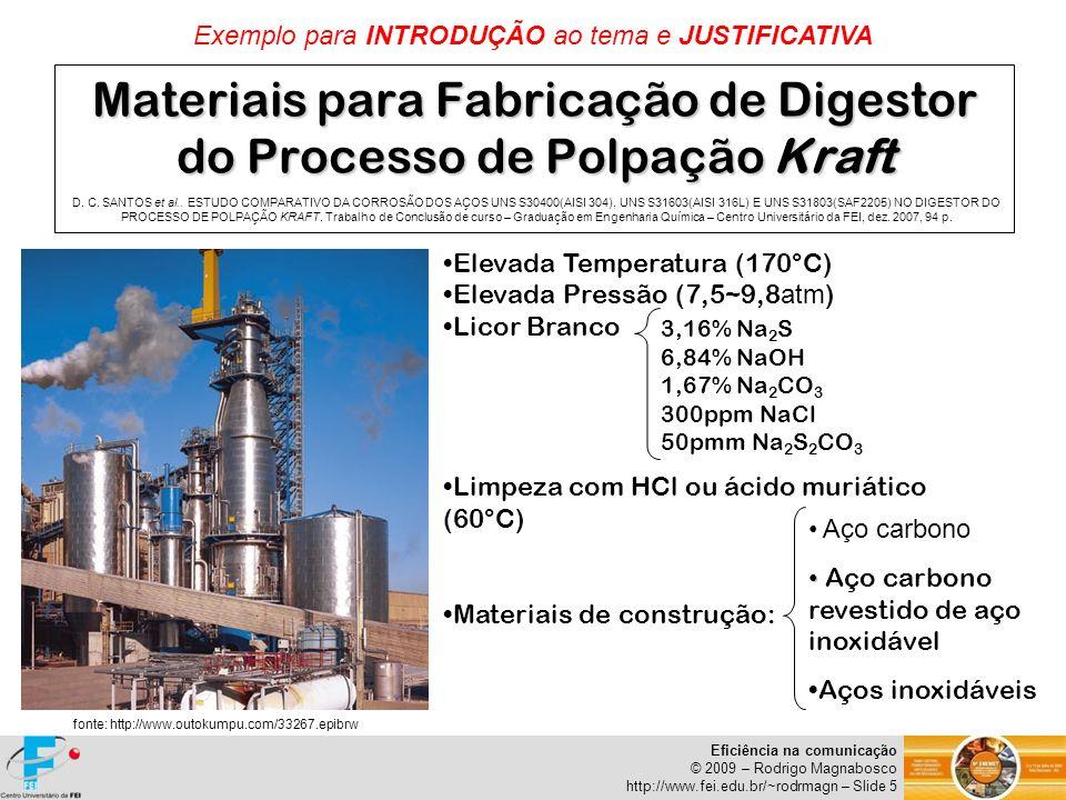 Eficiência na comunicação © 2009 – Rodrigo Magnabosco http://www.fei.edu.br/~rodrmagn – Slide 5 Materiais para Fabricação de Digestor do Processo de P