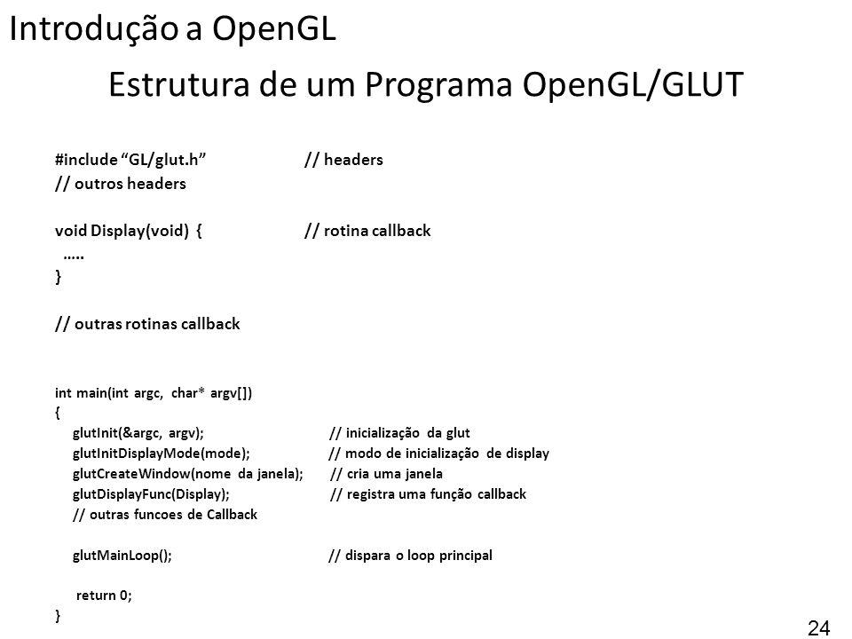 Estrutura de um Programa OpenGL/GLUT #include GL/glut.h // headers // outros headers void Display(void) { // rotina callback ….. } // outras rotinas c