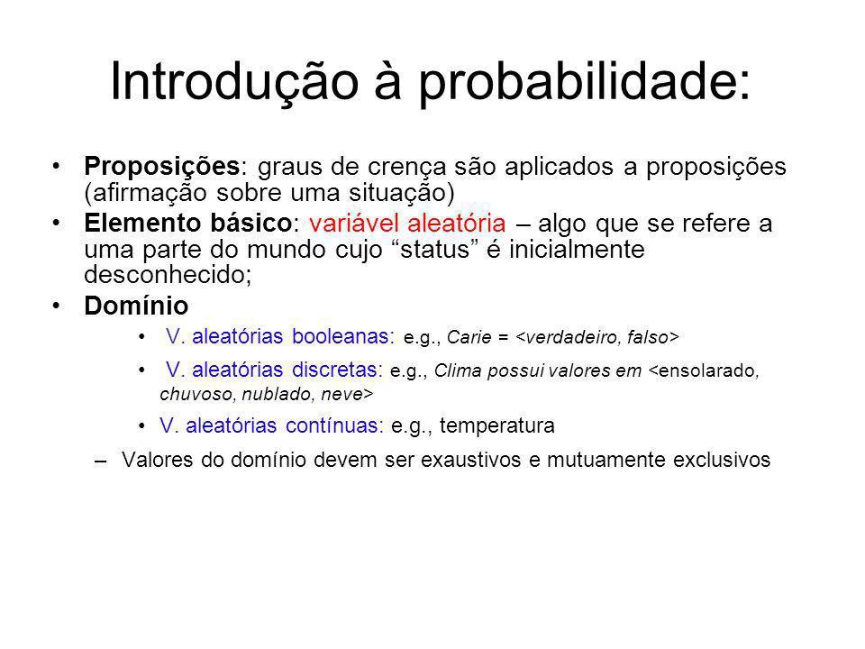 Introdução à probabilidade: Proposições: graus de crença são aplicados a proposições (afirmação sobre uma situação) Elemento básico: variável aleatóri