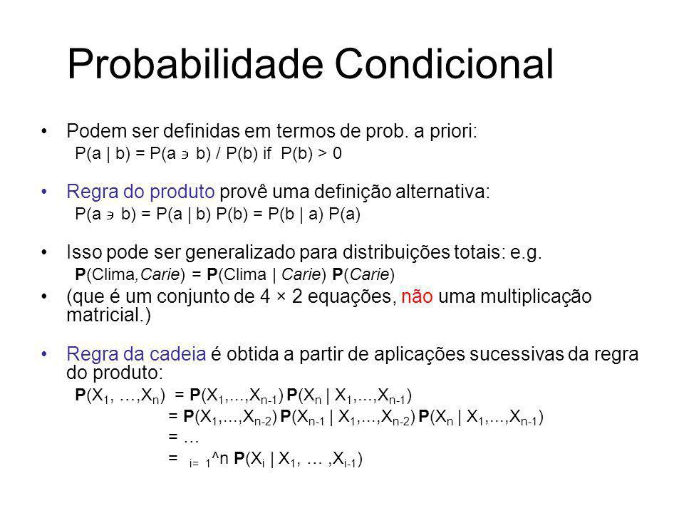 Probabilidade Condicional Podem ser definidas em termos de prob. a priori: P(a   b) = P(a b) / P(b) if P(b) > 0 Regra do produto provê uma definição a