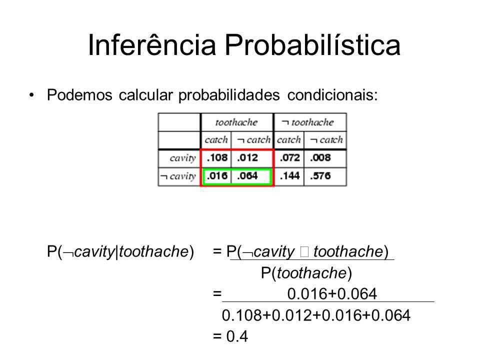 Podemos calcular probabilidades condicionais: P( cavity toothache) = P( cavity toothache) P(toothache) = 0.016+0.064 0.108+0.012+0.016+0.064 = 0.4 Inf