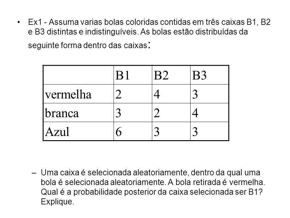 Ex1 - Assuma varias bolas coloridas contidas em três caixas B1, B2 e B3 distintas e indistinguíveis. As bolas estão distribuídas da seguinte forma den