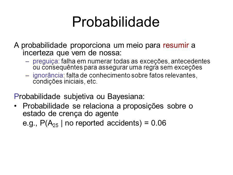Probabilidade A probabilidade proporciona um meio para resumir a incerteza que vem de nossa: –preguiça: falha em numerar todas as exceções, antecedent