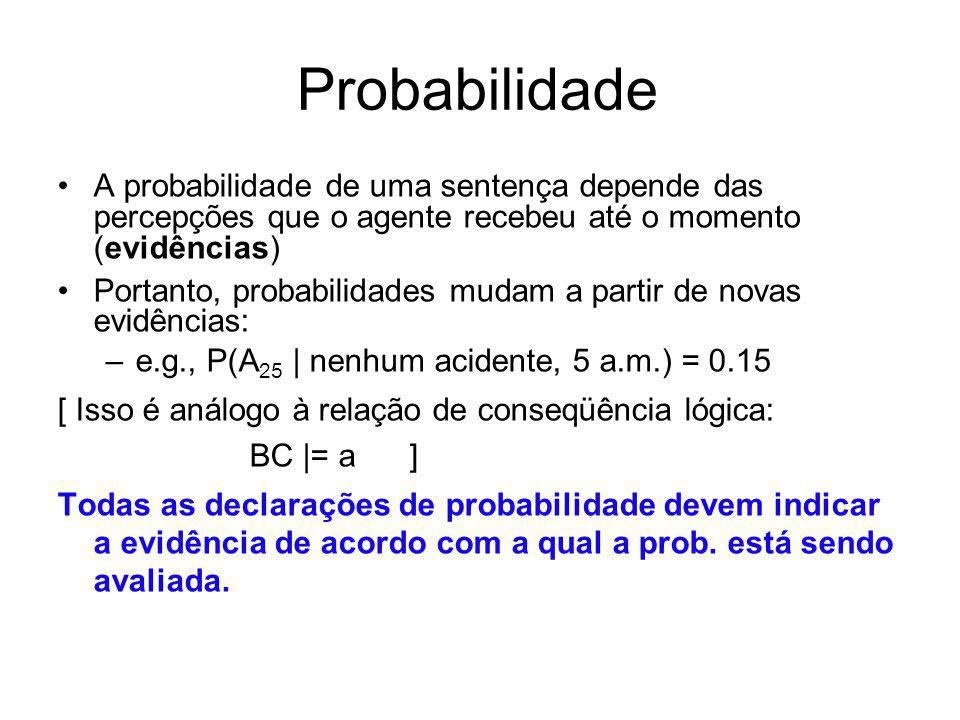Probabilidade A probabilidade de uma sentença depende das percepções que o agente recebeu até o momento (evidências) Portanto, probabilidades mudam a