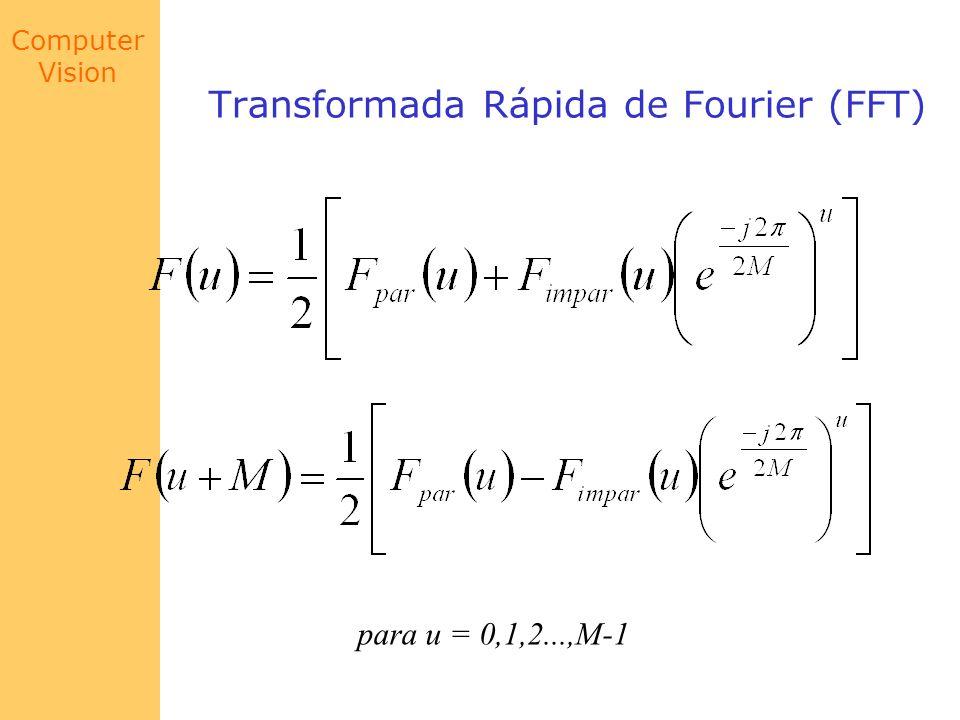 Computer Vision Exemplo Suponha calcular a FFT para a seqüência f de N = 8 pontos onde f = (f(0),f(1),...,f(7)) FFT de 8 pontos (f(0),f(1),f(2),f(3),f(4),f(5),f(6),f(7)) f(0),f(2),f(4),f(6) f(1),f(3),f(5),f(7) f(0),f(4) f(2),f(6) f(1),f(5) f(3),f(7)
