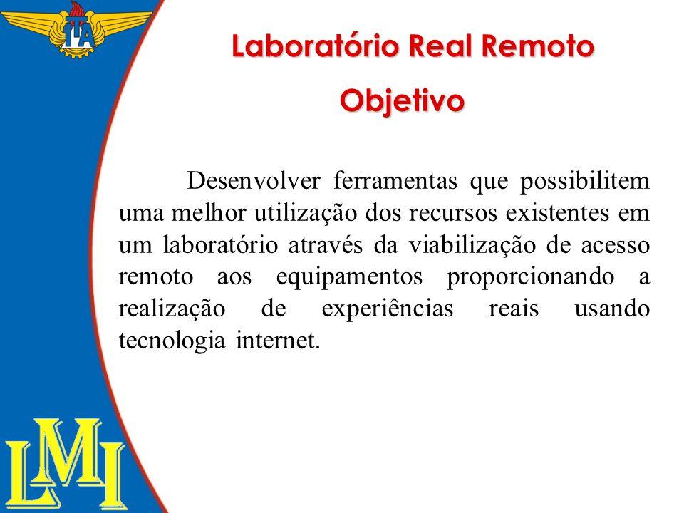 Laboratório Real Remoto Desenvolver ferramentas que possibilitem uma melhor utilização dos recursos existentes em um laboratório através da viabilizaç