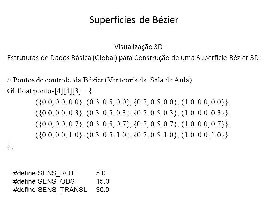 Superfícies de Bézier Para Construir a Superfície de Bézier são necessários principalmente: uma estrutura de Dados (slide anterior) e as funções a seguir: // Função para calcular a Superfície (Chamada de dentro da inicializa) // Define significado dos pontos de controle glMap2f(GL_MAP2_VERTEX_3, 0, 1, 3, 4, 0, 1, 12, 4, &pontos[0][0][0]); // Ativa geração de coordenadas glEnable(GL_MAP2_VERTEX_3);