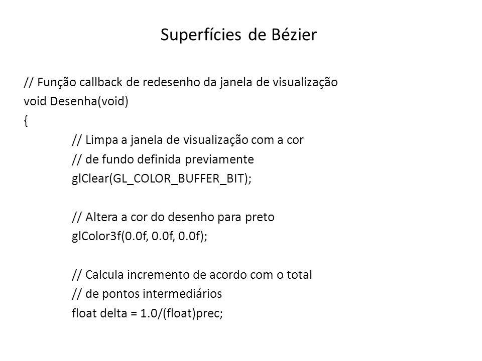 Superfícies de Bézier // Função callback de redesenho da janela de visualização void Desenha(void) { // Limpa a janela de visualização com a cor // de