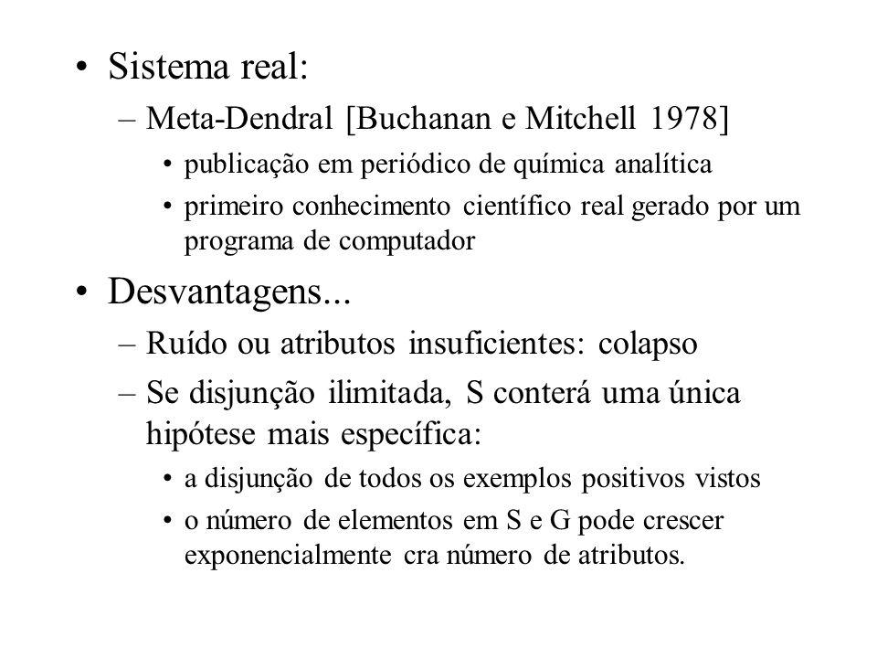 Sistema real: –Meta-Dendral [Buchanan e Mitchell 1978] publicação em periódico de química analítica primeiro conhecimento científico real gerado por u