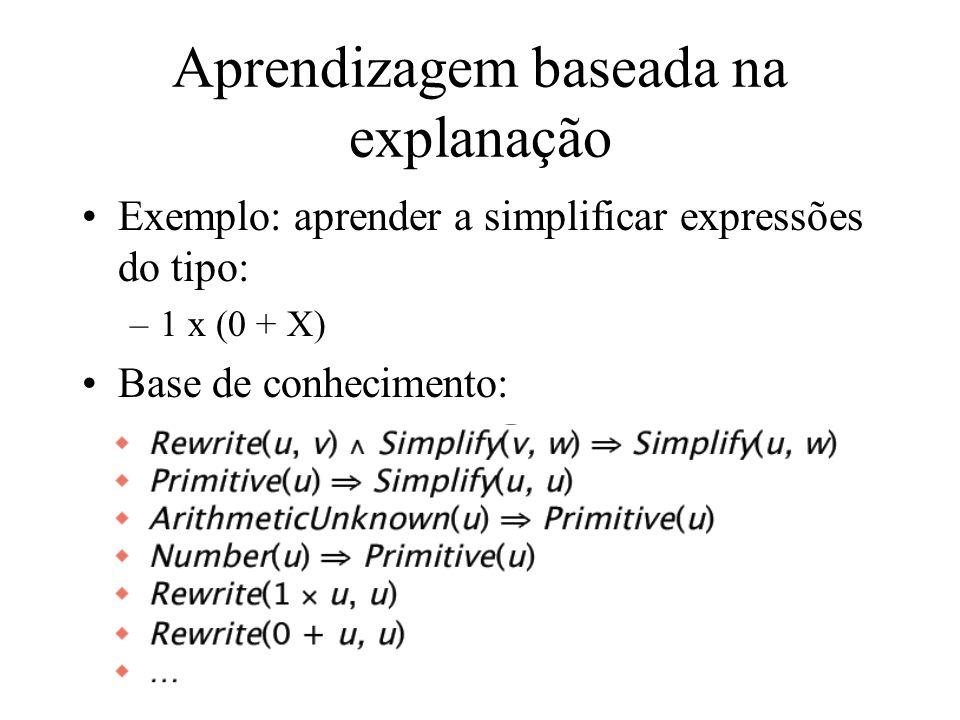 Aprendizagem baseada na explanação Exemplo: aprender a simplificar expressões do tipo: –1 x (0 + X) Base de conhecimento: –Reescrever(u,v) Simplificar