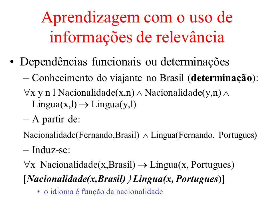 Aprendizagem com o uso de informações de relevância Dependências funcionais ou determinações –Conhecimento do viajante no Brasil (determinação): x y n