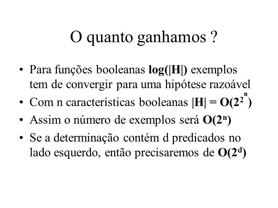 O quanto ganhamos ? Para funções booleanas log( H ) exemplos tem de convergir para uma hipótese razoável Com n características booleanas  H  = O(2 2 )