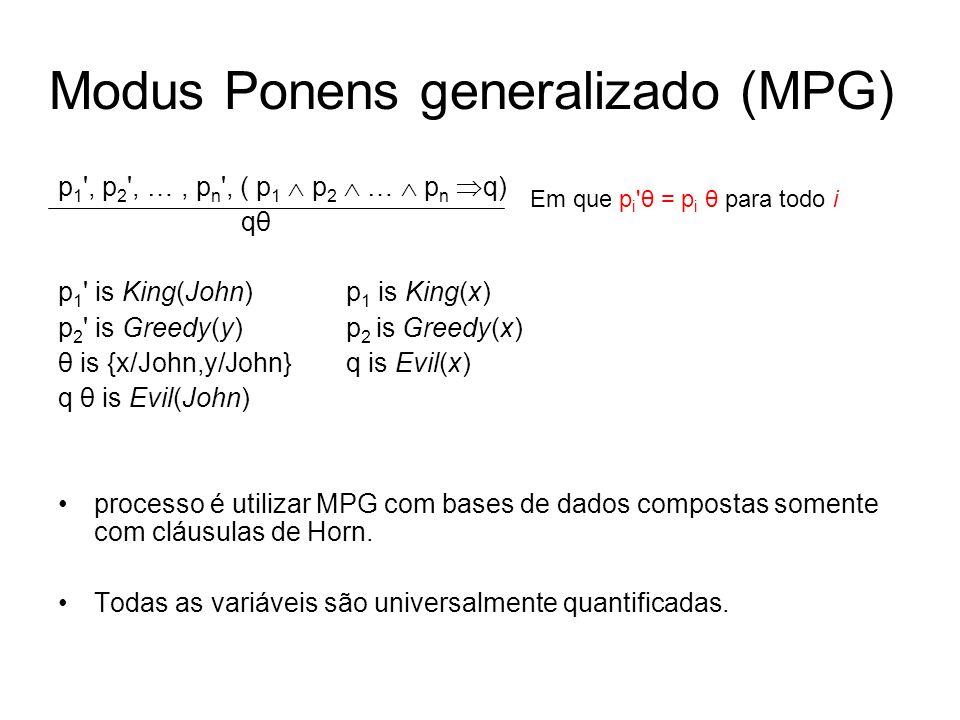 Modus Ponens generalizado (MPG) p 1 ', p 2 ', …, p n ', ( p 1 p 2 … p n q) qθ p 1 ' is King(John) p 1 is King(x) p 2 ' is Greedy(y) p 2 is Greedy(x) θ