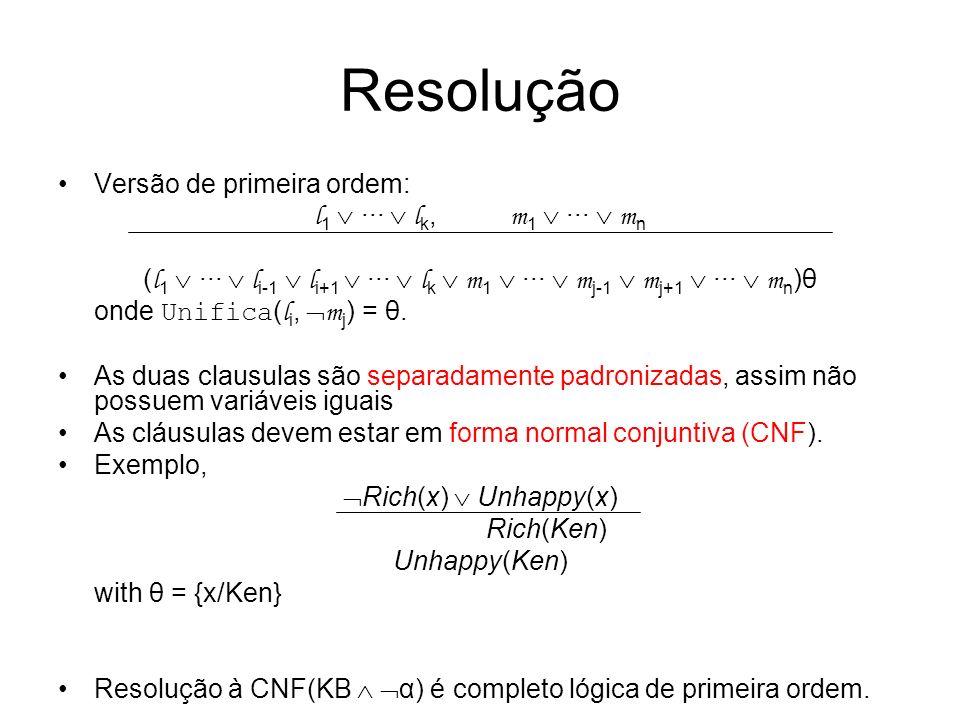 Resolução Versão de primeira ordem: l 1 ··· l k, m 1 ··· m n ( l 1 ··· l i-1 l i+1 ··· l k m 1 ··· m j-1 m j+1 ··· m n )θ onde Unifica ( l i, m j ) =