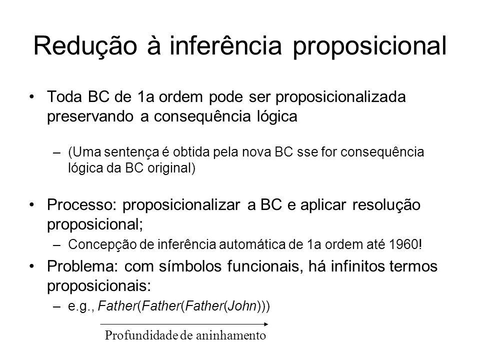 Redução à inferência proposicional Toda BC de 1a ordem pode ser proposicionalizada preservando a consequência lógica –(Uma sentença é obtida pela nova