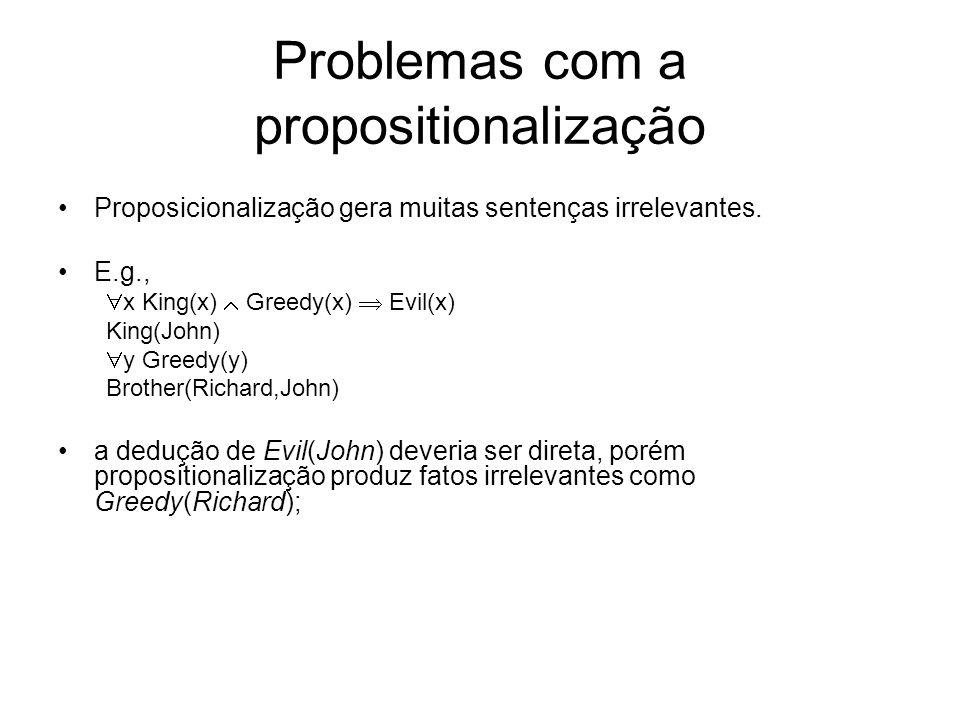 Problemas com a propositionalização Proposicionalização gera muitas sentenças irrelevantes. E.g., x King(x) Greedy(x) Evil(x) King(John) y Greedy(y) B