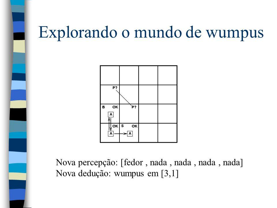 Explorando o mundo de wumpus Nova percepção: [fedor, nada, nada, nada, nada] Nova dedução: wumpus em [3,1]
