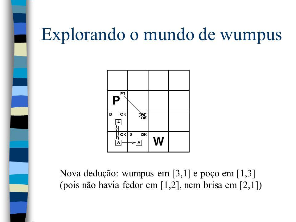 Explorando o mundo de wumpus Nova dedução: wumpus em [3,1] e poço em [1,3] (pois não havia fedor em [1,2], nem brisa em [2,1])