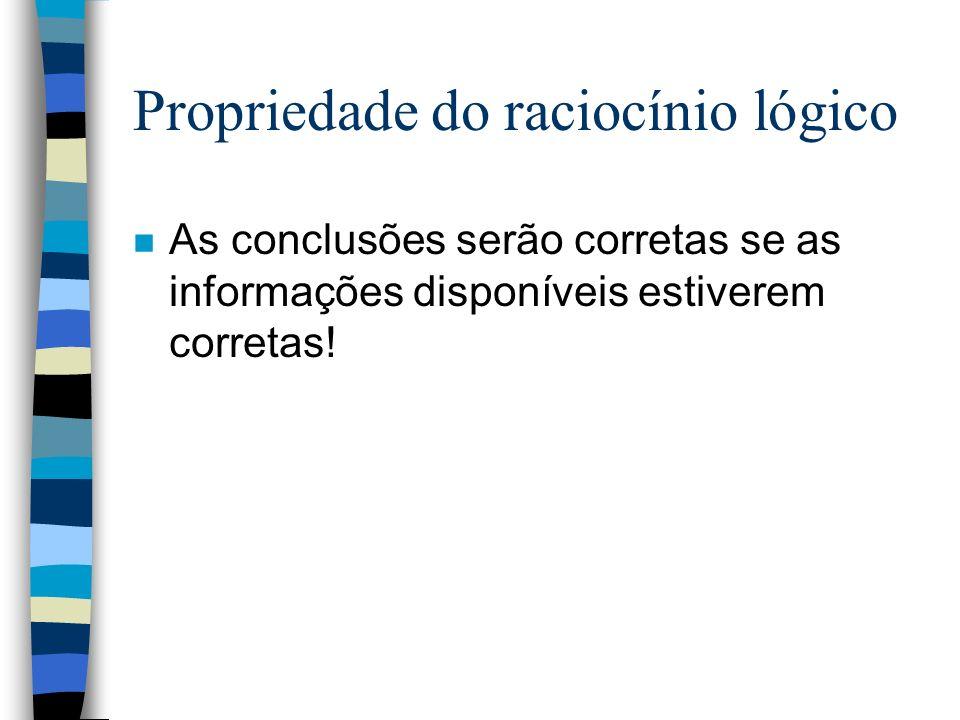 Propriedade do raciocínio lógico n As conclusões serão corretas se as informações disponíveis estiverem corretas!