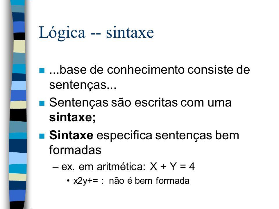 Lógica -- sintaxe n...base de conhecimento consiste de sentenças... n Sentenças são escritas com uma sintaxe; n Sintaxe especifica sentenças bem forma
