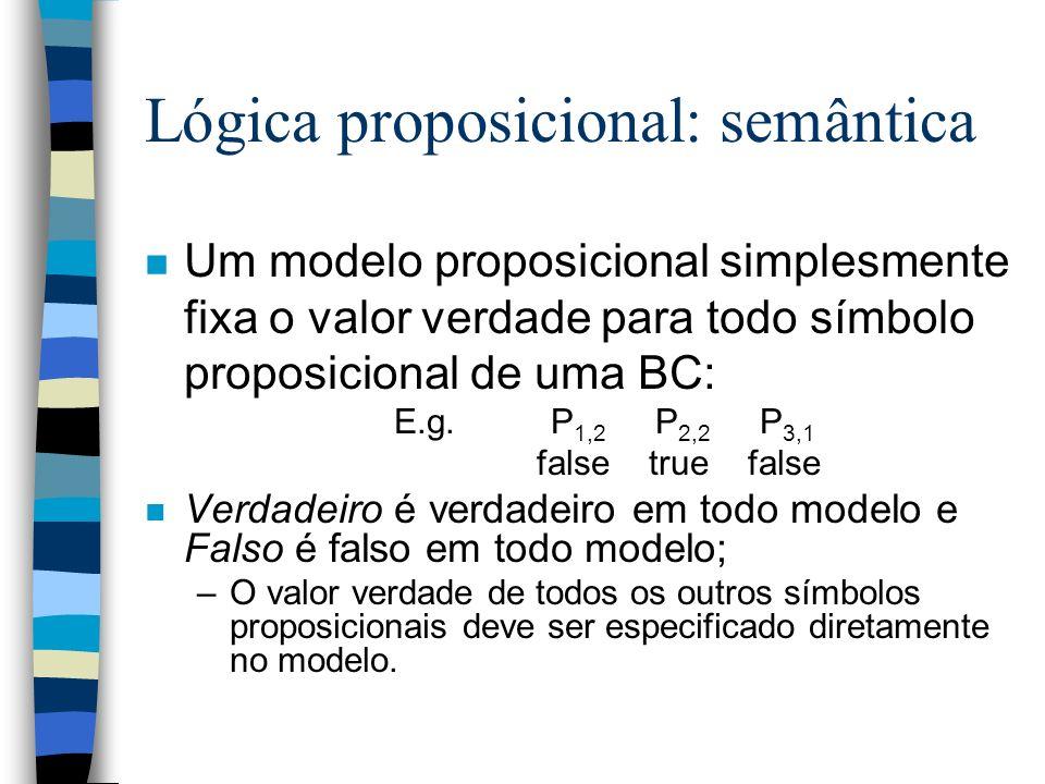 Lógica proposicional: semântica n Um modelo proposicional simplesmente fixa o valor verdade para todo símbolo proposicional de uma BC: E.g. P 1,2 P 2,