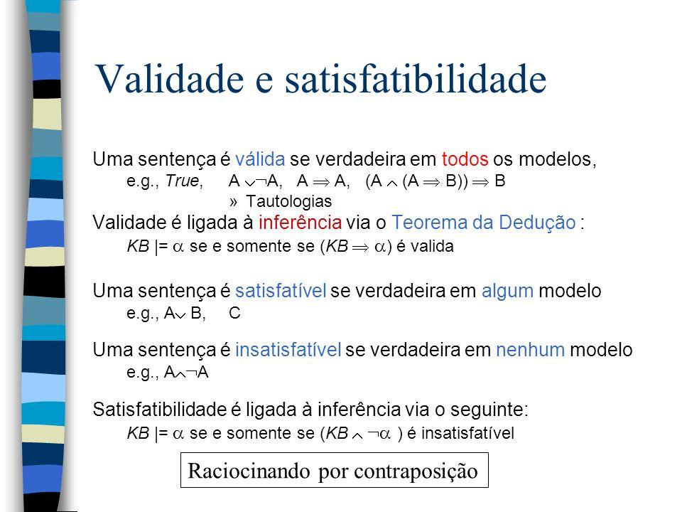 Validade e satisfatibilidade Uma sentença é válida se verdadeira em todos os modelos, e.g., True,A A, A A, (A (A B)) B »Tautologias Validade é ligada
