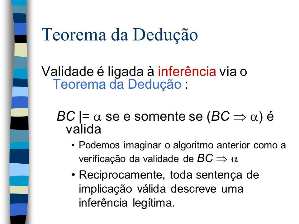 Teorema da Dedução Validade é ligada à inferência via o Teorema da Dedução : BC |= se e somente se (BC ) é valida Podemos imaginar o algoritmo anterio