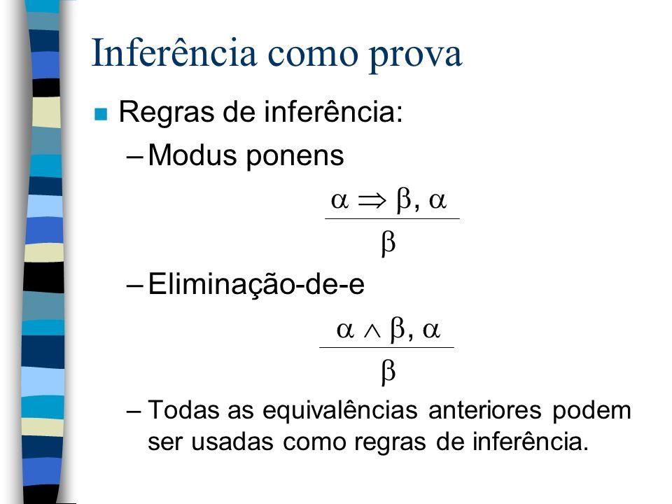 Inferência como prova n Regras de inferência: –Modus ponens, –Eliminação-de-e, –Todas as equivalências anteriores podem ser usadas como regras de infe